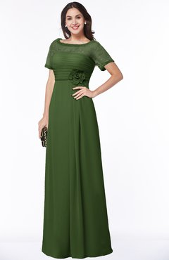 ColsBM Amanda Garden Green Traditional Short Sleeve Zip up Chiffon Floor Length Flower Bridesmaid Dresses