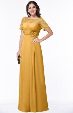 ColsBM Amanda Golden Cream Traditional Short Sleeve Zip up Chiffon Floor Length Flower Bridesmaid Dresses