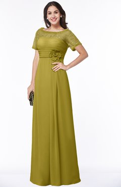 ColsBM Amanda Golden Olive Traditional Short Sleeve Zip up Chiffon Floor Length Flower Bridesmaid Dresses