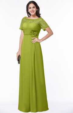 ColsBM Amanda Green Oasis Traditional Short Sleeve Zip up Chiffon Floor Length Flower Bridesmaid Dresses