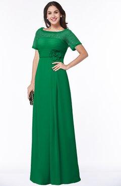 1abf9e26e247 ColsBM Amanda Green Traditional Short Sleeve Zip up Chiffon Floor Length  Flower Bridesmaid Dresses