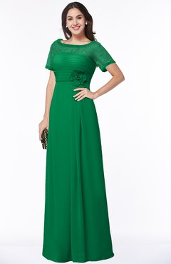 ColsBM Amanda Green Traditional Short Sleeve Zip up Chiffon Floor Length Flower Bridesmaid Dresses