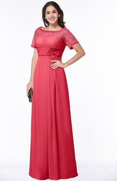 ColsBM Amanda Guava Traditional Short Sleeve Zip up Chiffon Floor Length Flower Bridesmaid Dresses
