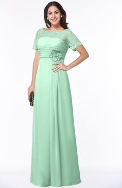 ColsBM Amanda Honeydew Traditional Short Sleeve Zip up Chiffon Floor Length Flower Bridesmaid Dresses