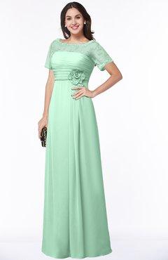 ColsBM Amanda Honeydew Traditional Short Sleeve Zip up Chiffon Floor Length Flower Bridesmaid Dresses