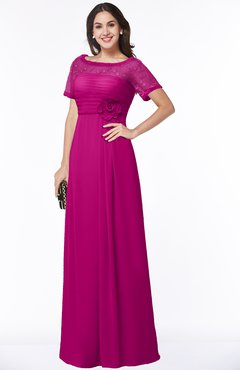 ColsBM Amanda Hot Pink Traditional Short Sleeve Zip up Chiffon Floor Length Flower Bridesmaid Dresses