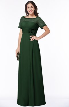 ColsBM Amanda Hunter Green Traditional Short Sleeve Zip up Chiffon Floor Length Flower Bridesmaid Dresses