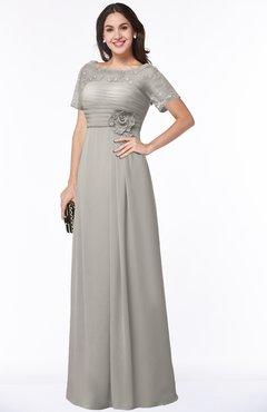 ColsBM Amanda Hushed Violet Traditional Short Sleeve Zip up Chiffon Floor Length Flower Bridesmaid Dresses