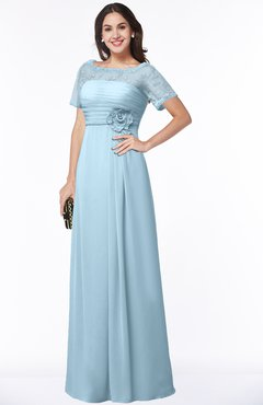 ColsBM Amanda Ice Blue Traditional Short Sleeve Zip up Chiffon Floor Length Flower Bridesmaid Dresses