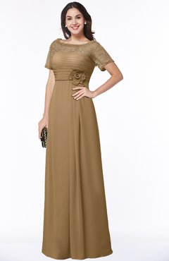 ColsBM Amanda Indian Tan Traditional Short Sleeve Zip up Chiffon Floor Length Flower Bridesmaid Dresses