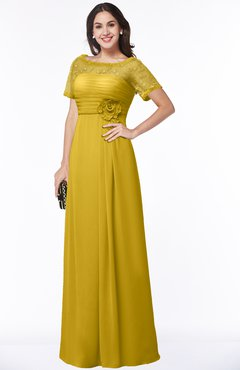 ColsBM Amanda Lemon Curry Traditional Short Sleeve Zip up Chiffon Floor Length Flower Bridesmaid Dresses