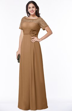 ColsBM Amanda Light Brown Traditional Short Sleeve Zip up Chiffon Floor Length Flower Bridesmaid Dresses