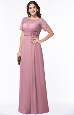 ColsBM Amanda Light Coral Traditional Short Sleeve Zip up Chiffon Floor Length Flower Bridesmaid Dresses
