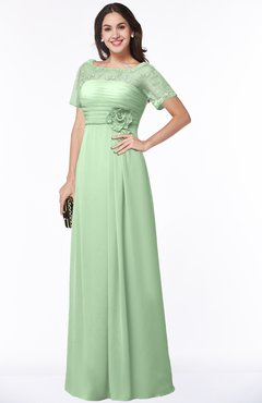 ColsBM Amanda Light Green Traditional Short Sleeve Zip up Chiffon Floor Length Flower Bridesmaid Dresses