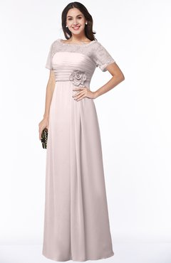 ColsBM Amanda Light Pink Traditional Short Sleeve Zip up Chiffon Floor Length Flower Bridesmaid Dresses