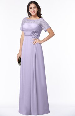 ColsBM Amanda Light Purple Traditional Short Sleeve Zip up Chiffon Floor Length Flower Bridesmaid Dresses
