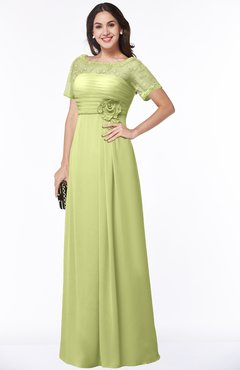 ColsBM Amanda Lime Green Traditional Short Sleeve Zip up Chiffon Floor Length Flower Bridesmaid Dresses