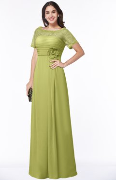 ColsBM Amanda Linden Green Traditional Short Sleeve Zip up Chiffon Floor Length Flower Bridesmaid Dresses