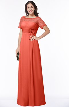 ColsBM Amanda Living Coral Traditional Short Sleeve Zip up Chiffon Floor Length Flower Bridesmaid Dresses