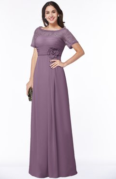 ColsBM Amanda Mauve Traditional Short Sleeve Zip up Chiffon Floor Length Flower Bridesmaid Dresses