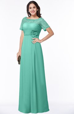 ColsBM Amanda Mint Green Traditional Short Sleeve Zip up Chiffon Floor Length Flower Bridesmaid Dresses
