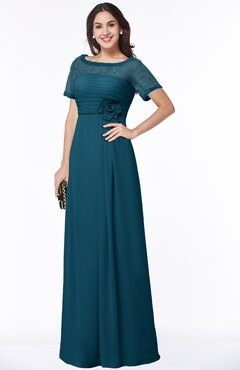ColsBM Amanda Moroccan Blue Traditional Short Sleeve Zip up Chiffon Floor Length Flower Bridesmaid Dresses
