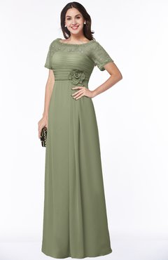 ColsBM Amanda Moss Green Traditional Short Sleeve Zip up Chiffon Floor Length Flower Bridesmaid Dresses