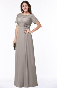 ColsBM Amanda Mushroom Traditional Short Sleeve Zip up Chiffon Floor Length Flower Bridesmaid Dresses