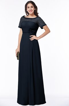ColsBM Amanda Navy Blue Traditional Short Sleeve Zip up Chiffon Floor Length Flower Bridesmaid Dresses