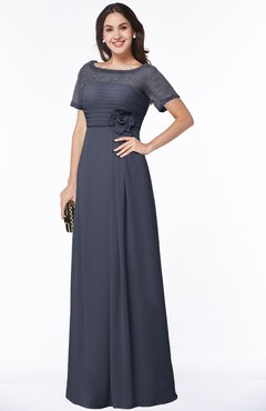 ColsBM Amanda Nightshadow Blue Traditional Short Sleeve Zip up Chiffon Floor Length Flower Bridesmaid Dresses
