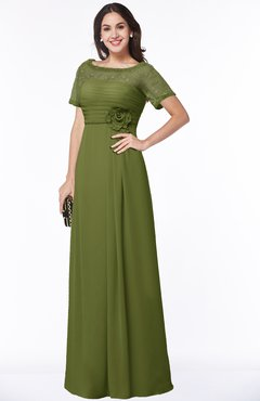 ColsBM Amanda Olive Green Traditional Short Sleeve Zip up Chiffon Floor Length Flower Bridesmaid Dresses