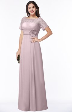 ColsBM Amanda Pale Lilac Traditional Short Sleeve Zip up Chiffon Floor Length Flower Bridesmaid Dresses