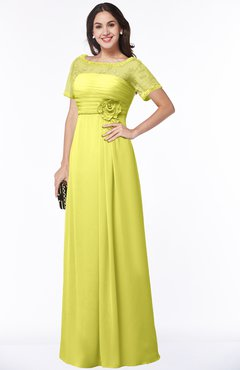 ColsBM Amanda Pale Yellow Traditional Short Sleeve Zip up Chiffon Floor Length Flower Bridesmaid Dresses