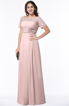 ColsBM Amanda Pastel Pink Traditional Short Sleeve Zip up Chiffon Floor Length Flower Bridesmaid Dresses