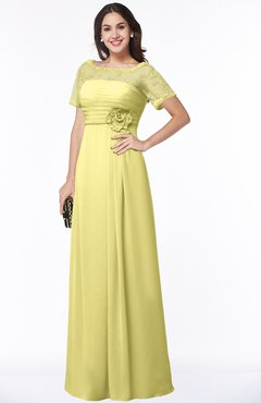 ColsBM Amanda Pastel Yellow Traditional Short Sleeve Zip up Chiffon Floor Length Flower Bridesmaid Dresses