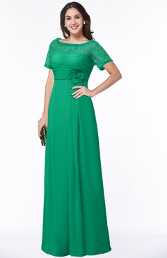 ColsBM Amanda Pepper Green Traditional Short Sleeve Zip up Chiffon Floor Length Flower Bridesmaid Dresses