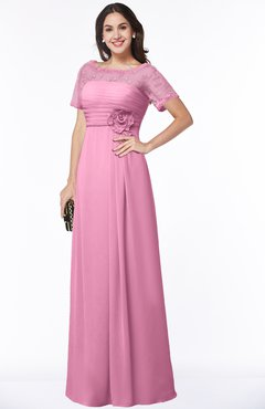 ColsBM Amanda Pink Traditional Short Sleeve Zip up Chiffon Floor Length Flower Bridesmaid Dresses