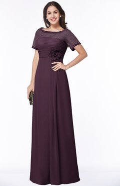 Colsbm Amanda Plum Traditional Short Sleeve Zip Up Chiffon Floor Length Flower Bridesmaid Dresses