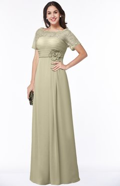 ColsBM Amanda Putty Traditional Short Sleeve Zip up Chiffon Floor Length Flower Bridesmaid Dresses