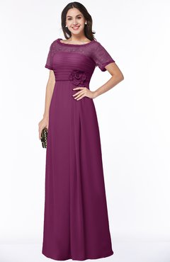 ColsBM Amanda Raspberry Traditional Short Sleeve Zip up Chiffon Floor Length Flower Bridesmaid Dresses