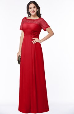 ColsBM Amanda Red Traditional Short Sleeve Zip up Chiffon Floor Length Flower Bridesmaid Dresses