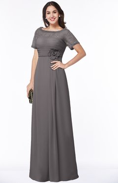 ColsBM Amanda Ridge Grey Traditional Short Sleeve Zip up Chiffon Floor Length Flower Bridesmaid Dresses