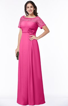 ColsBM Amanda Rose Pink Traditional Short Sleeve Zip up Chiffon Floor Length Flower Bridesmaid Dresses