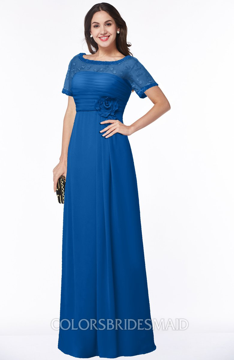 69f6e8a152f ColsBM Amanda Royal Blue Traditional Short Sleeve Zip up Chiffon Floor  Length Flower Bridesmaid Dresses