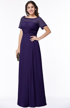ColsBM Amanda Royal Purple Traditional Short Sleeve Zip up Chiffon Floor Length Flower Bridesmaid Dresses