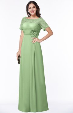 ColsBM Amanda Sage Green Traditional Short Sleeve Zip up Chiffon Floor Length Flower Bridesmaid Dresses
