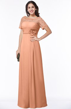 ColsBM Amanda Salmon Traditional Short Sleeve Zip up Chiffon Floor Length Flower Bridesmaid Dresses