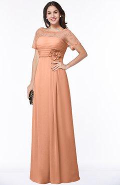 ColsBM Amanda Salmon Traditional Short Sleeve Zip up Chiffon Floor Length Flower Bridesmaid Dresses
