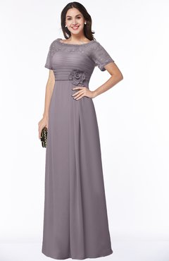 ColsBM Amanda Sea Fog Traditional Short Sleeve Zip up Chiffon Floor Length Flower Bridesmaid Dresses