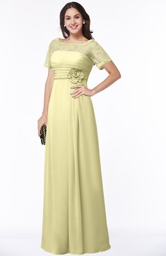 ColsBM Amanda Soft Yellow Traditional Short Sleeve Zip up Chiffon Floor Length Flower Bridesmaid Dresses